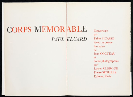 Lucien Clergue - Corps Mémorable - Paul Eluard Pablo Picasso, & Jean Cocteau Seghers 1957