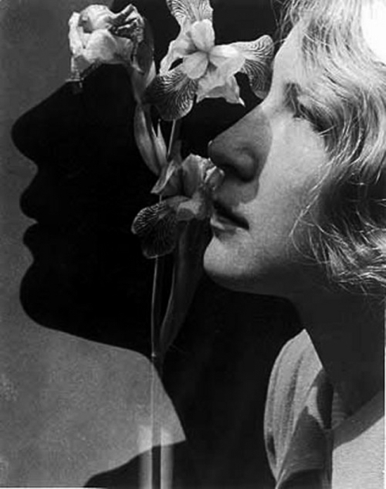 Edmund Kesting - Woman's Head with lily, 1935