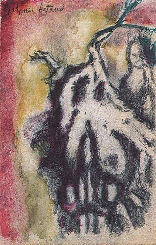 Antonin Artaud, Carte postale a Jeanne Toulouse decoree d'un dessin, 1921