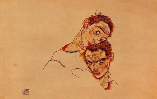 Egon Schiele - Doppelselbstporträt,double auto portrait, 1915