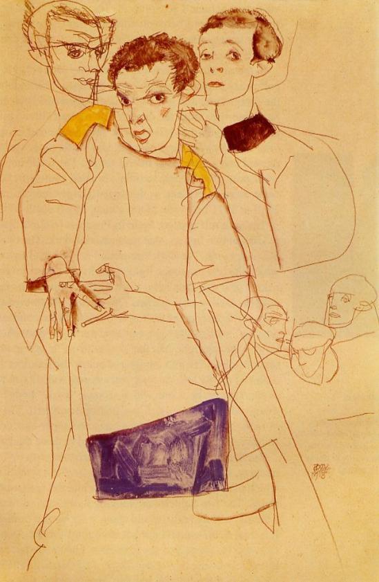 Egon Schiele -Dreifach-Selbstporträt, triple Self Portrait, 1913