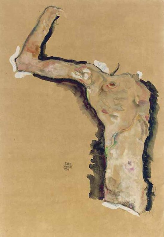 Egon Schiele- Headless self-portrait 1911