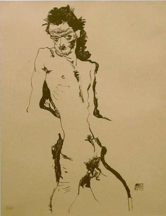 Egon Schiele-Männlicher Akt (Selbstporträt) I, 1912