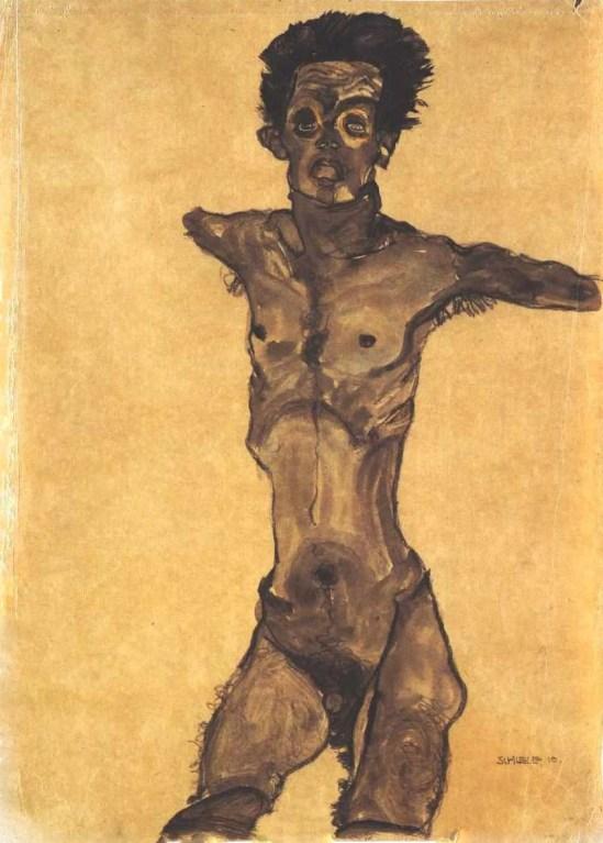 Egon Schiele- Selbstakt in Grau mit offenem Mund (Autoportrait nu en gris avec la bouche ouverte), 1910
