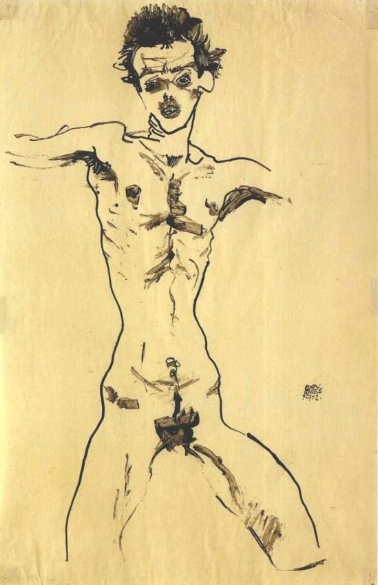 Egon Schiele- Selbstakt, Studie zur Sema Mappe (Autoportrait, Etude pour le groupe Sema), 1912