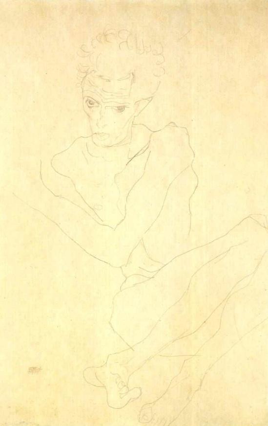 Egon Schiele- Selbstbildnis hockend (Auto-portrait accroupi), nd