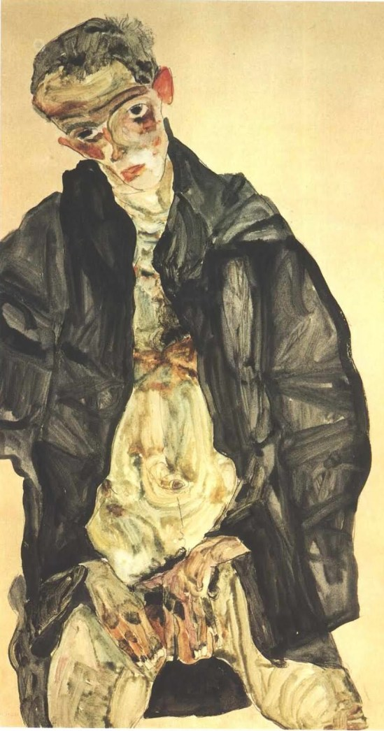 Egon Schiele - Selbstbildnis maturbierend (Autoportrait se masturbant), 1911