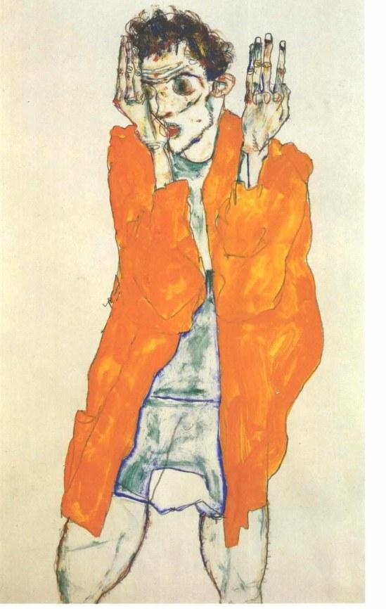 Egon Schiele- Selbstbildnis mit rotem Hemd (Auto-portrait avec une chemise rouge)