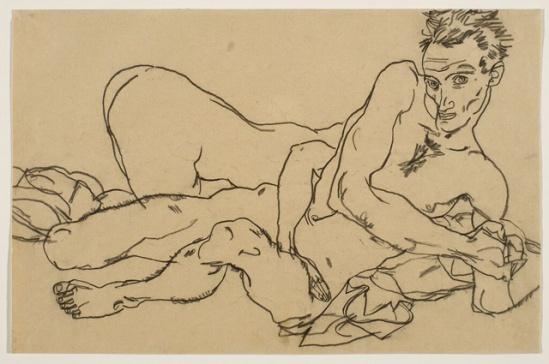 Egon Schiele -Selbstbildnis mit Weiblicher Akt Self-Portrait with Female Nude,  1917-18.