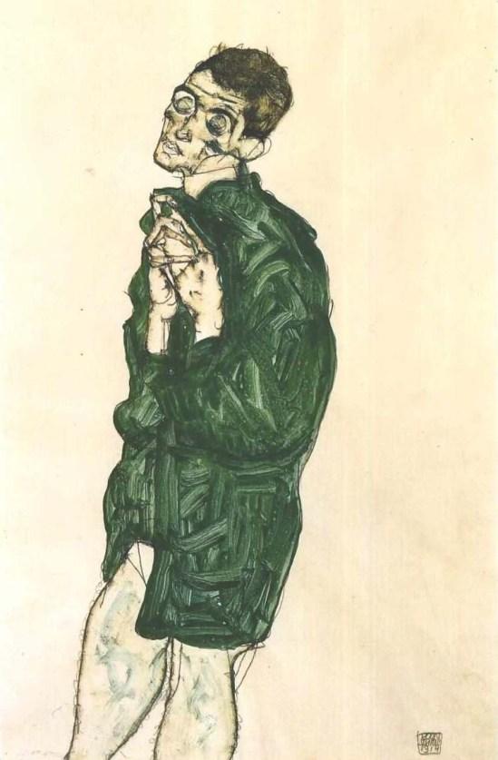 Egon Schiele- Selbstdarstellung mit geschlossenen Augen (auto-représentation aux yeux fermés), 1914