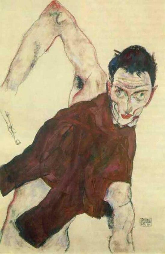 Egon Schiele- Selbstporträt in einem Wams mit rechten Ellbog (Self-portrait in a jerkin with right elbow raised), 1914. {goache,pencil,chalk}