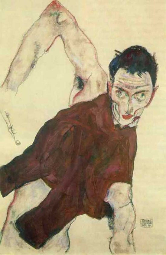 Egon Schiele- Selbstporträt in einem Wams mit rechten Ellbog (Self-portrait in a jerkin with right elbow raised), 1914. {goache,pencil,chalk}