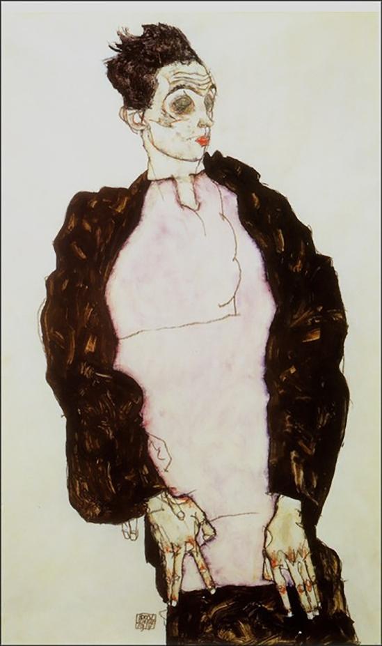 Egon Schiele- Selbstporträt in Lavendel Hemd und dunklen Anzug, stehend (self-portrait in lavander shirt and dark suit, standing)  ,1914