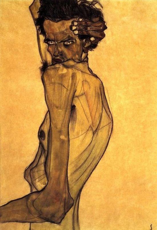 Egon Schiele- Selbstporträt mit Arm Verdrehung oben Kopf (Autoportrait avec le bras tordu au dessus de la tête), 1910