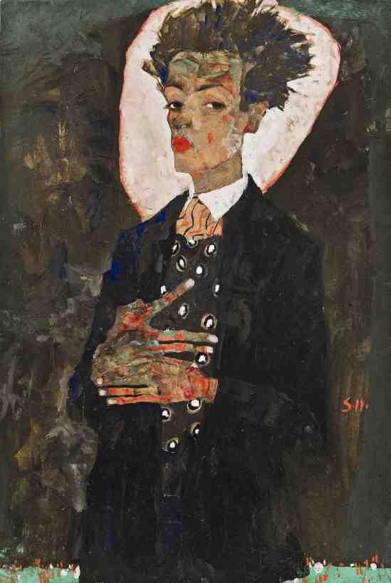 Egon Schiele -Selbstporträt mit Pfauen Westen,Self-portrait with peacock West, 1911.