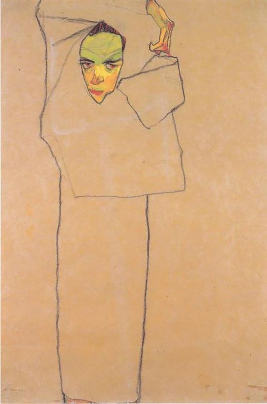 Egon Schiele - Selbstporträt  (Self-Portrait)  , 1910