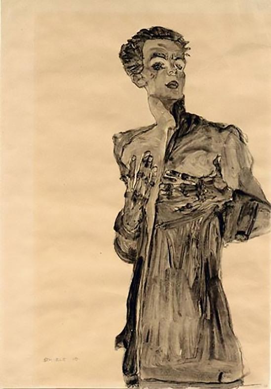 Egon Schiele -Self-Portrait in Street Clothes 1910