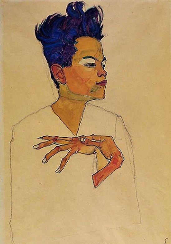 Egon Schiele- Self-portrait with hands on chest (date unknown)