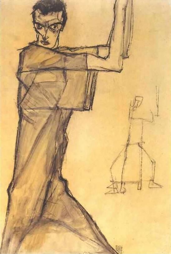Egon Schiele - Self portrait with raised arms , 1