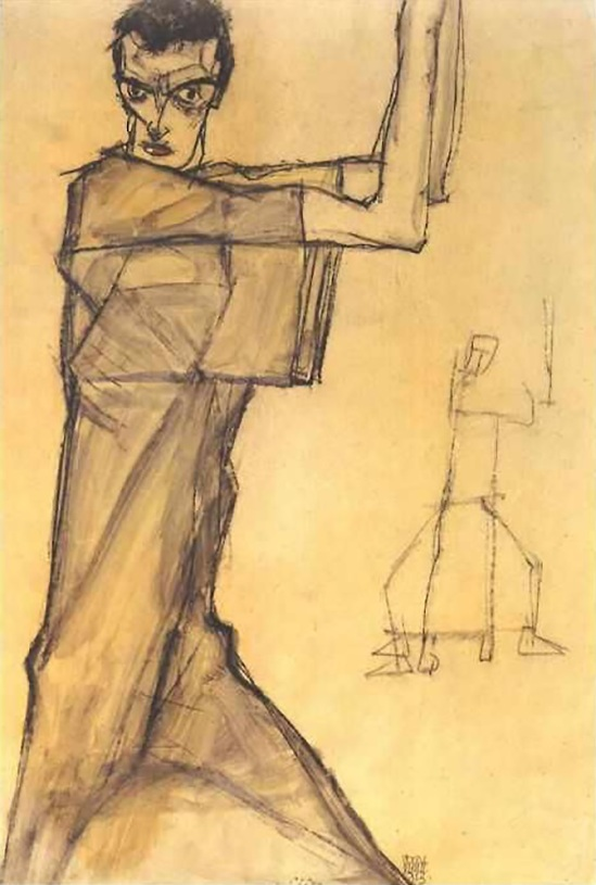 Egon Schiele - Self portrait with raised arms , 1