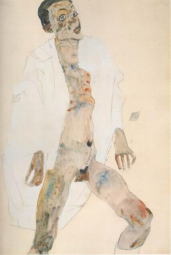 Egon Schiele -Stehender Mann, Selbstporträt, 1911