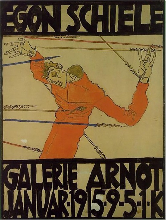 egonschiele  Poster with Self-Portrait as Saint Sebastian, Egon Schiele (1915)