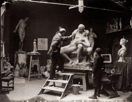 Heinrich Zille Künstlerkollegen und Ateliers, Fritz Klimsch in seinem Atelier1900