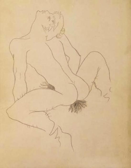 Jean COCTEAU (1889-1963)  EROTIQUE - VARIANTE POUR UNE ILLUSTRATION DU LIVRE QUERELLE DE BREST DE JEAN GENÊT EDITION PAUL MORIHIEN - 1947 Mine de plomb sur papier