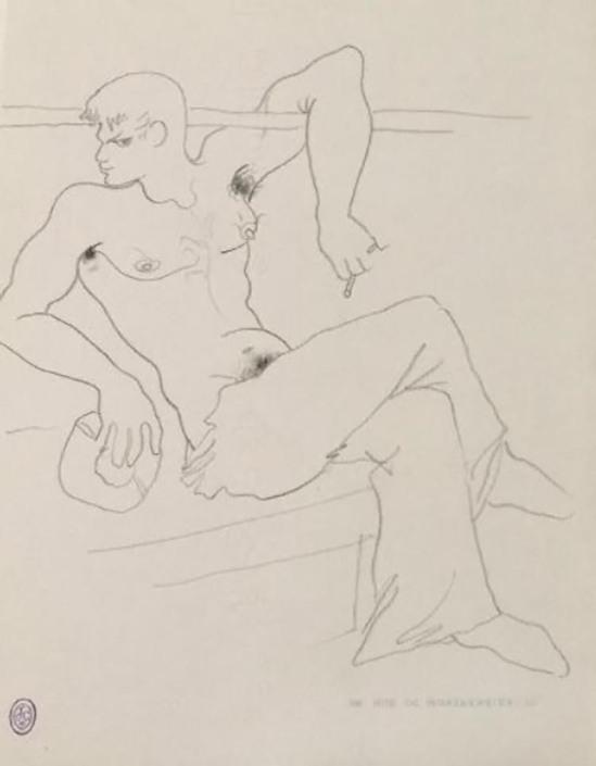 ean COCTEAU (1889-1963)  MARIN A LA CIGARETTE Mine de plomb sur papier à lettre du 36 rue de Montpensier, Ier Porte , nd ( drouot)