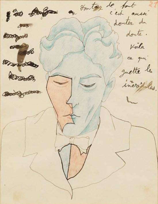 Jean Cocteau - Le Mystère de Jean l'Oiseleur, autoportrait n°21, 1924