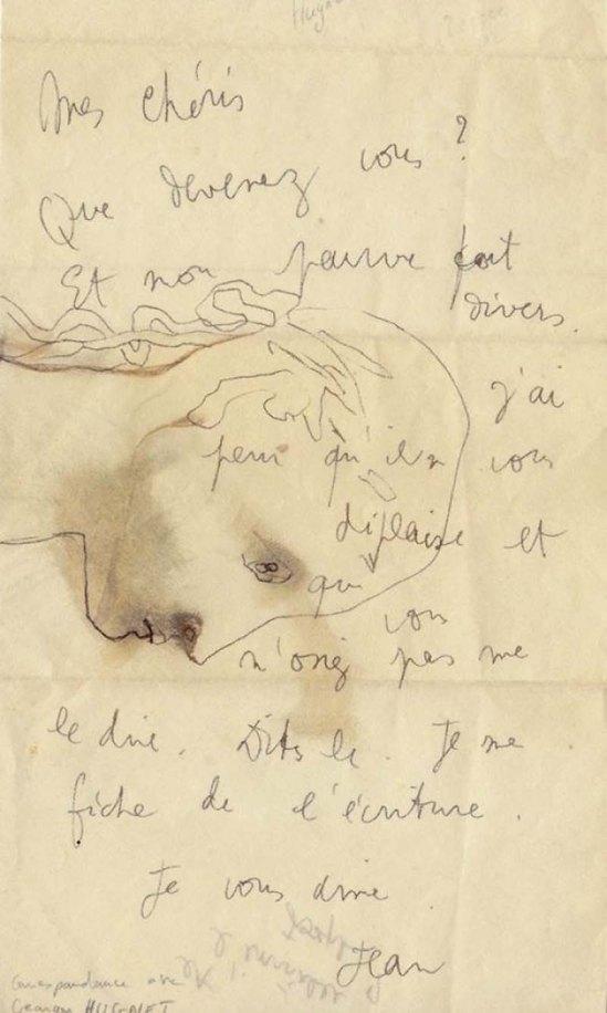 Jean Cocteau - Lettre autographe signée à l'écrivain surréaliste Georges Hugnet