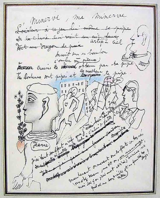 Jean Cocteau  Manuscrit, Minerve, ma minerve, nd