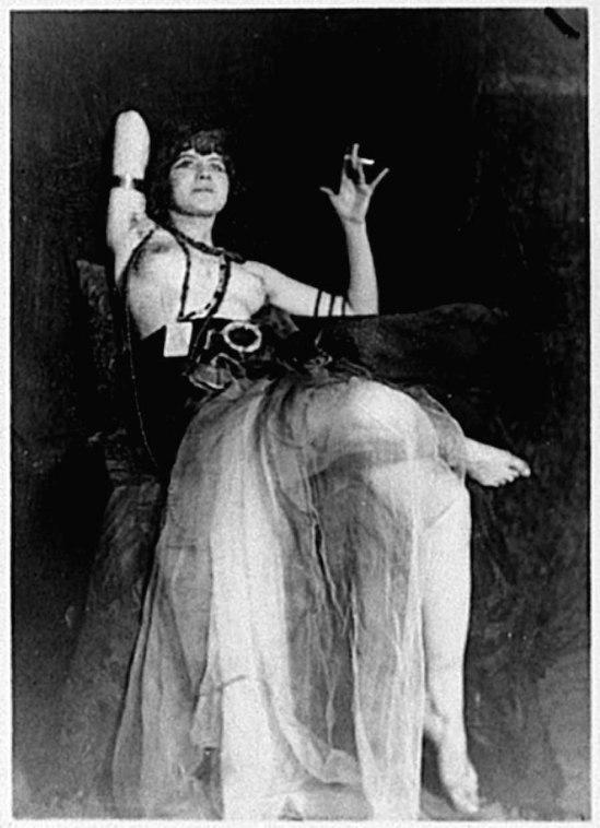 Lejaren A Hiller - Semi-Nude Woman in Costume Seated, 1920