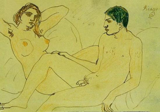 Pablo Picasso- Autoportrait avec nu 1902