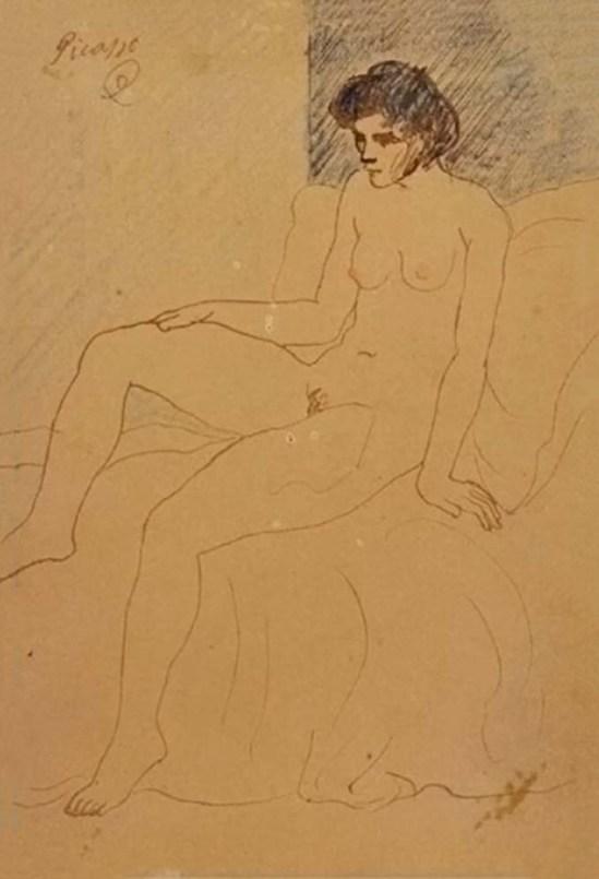 Pablo Picasso-Homme nu assis et femme nue debout 1904