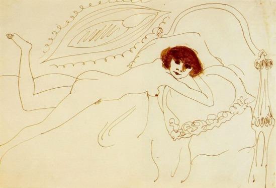 Pablo Picasso. nu couche. 1901