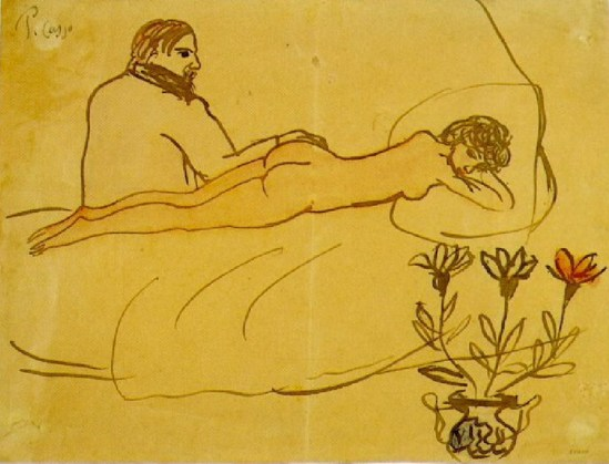 Pablo Picasso-Nu couche et Picasso assis 1902