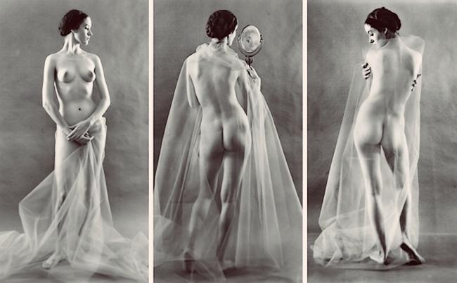Ruth Bernhard - Virginia with Mirror , [Profiles { study of nude with veil}] ,1967