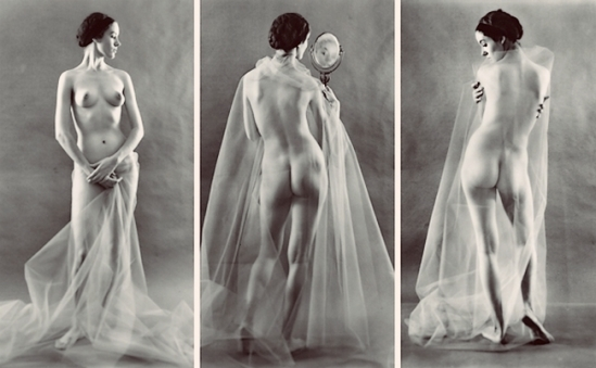 Ruth Bernhard - Virginia with Mirror , [Profiles { study of nude with veil}] ,1967