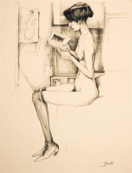 Jules De Bruycker- naakt model, Eva , Dessins - Drawings