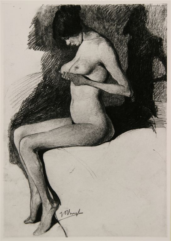 Jules De Bruycker- naakt,modele la petite Eva Frits van den Berghe. 1925 ( dessin)