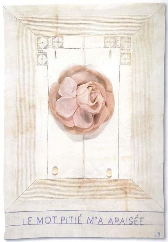 Louise Bourgeois- Untitled { Le mot pitié m'a apaisée}, 2006 une autre version à voir ici datant de 2001