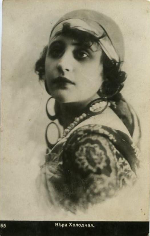 Vera Kholodnaya as a gypsy Photo Postcard, 1918-20s
