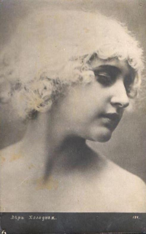 Vera Kholodnaya Photo Postcard, in Wig
