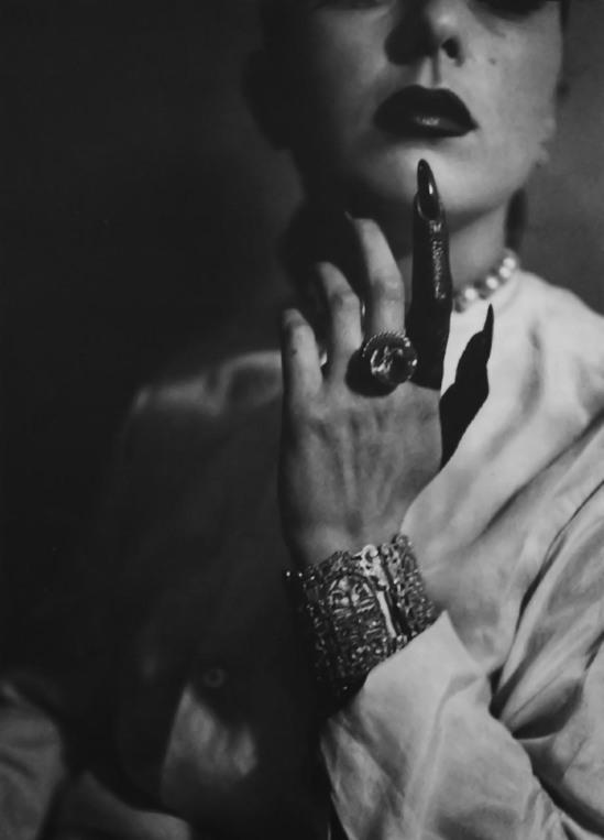 Jacques Henri Lartigue- Florette Orméa.'s Painted Finger - doigt peint de Florette Orméan ( 1944-45) [Jacques Lartigue épouse Florette Orméa le 28 août 1945]
