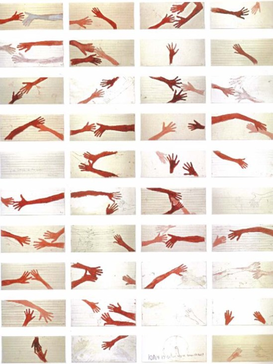 Louise Bourgeois- 10 am Is When You Come To Me, 2007 — mixed media on 40 music paper sheets. These are the hands of Louise and Jerry Gorovoy.