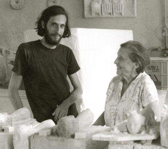 Louise Bourgeois and her assistant Jerry Gorovoy in the studio in Carrara, Italy, in 1981 with marble works in progress