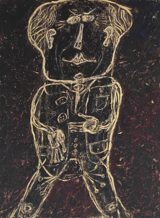 Monsieur Plume with Creases in his Trousers (Portrait of Henri Michaux) 1947 by Jean Dubuffet 1901-1985