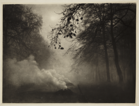 Charles  Job (1853-1930)-Burning Leaves, Kensington Gardens , 1924