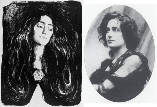 Edvard Munch -The Brooch, Eva Mudocci, 1903